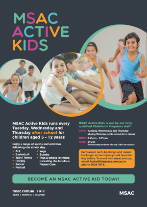MSAC Active kids - Child Care Darwin